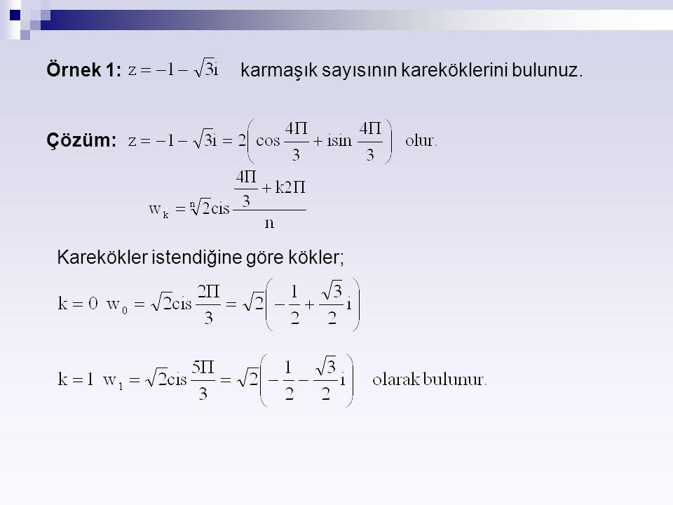 Örnek 1: karmaşık sayısının kareköklerini bulunuz.