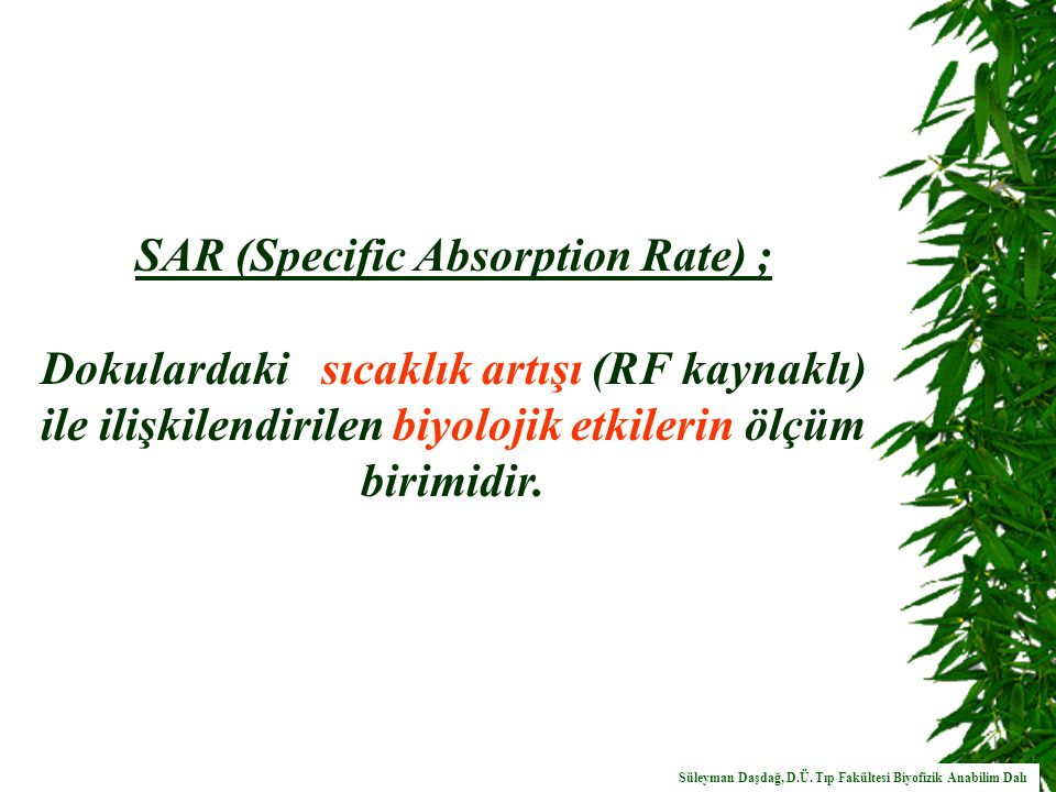 SAR (Specific Absorption Rate) ;