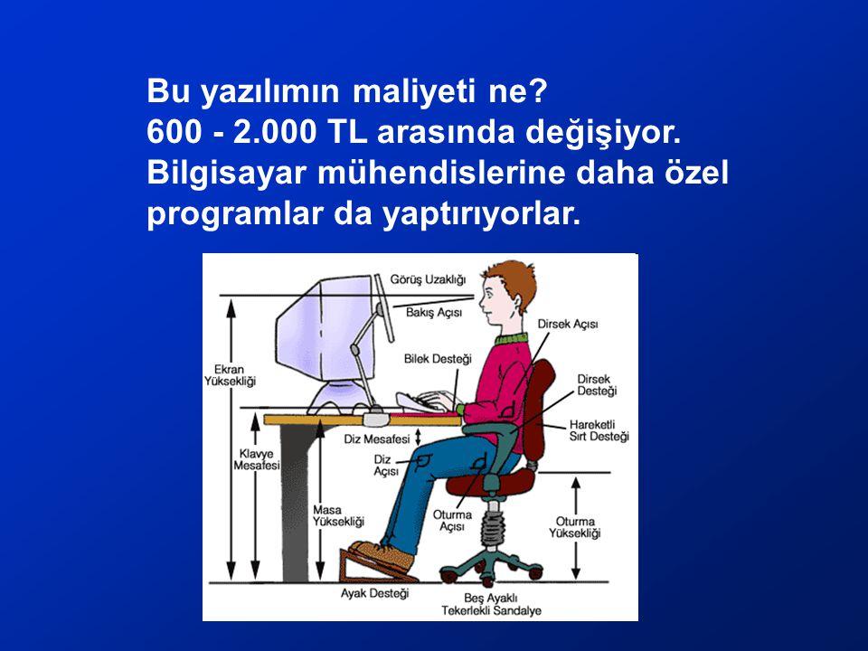 Bu yazılımın maliyeti ne 600 - 2.000 TL arasında değişiyor.