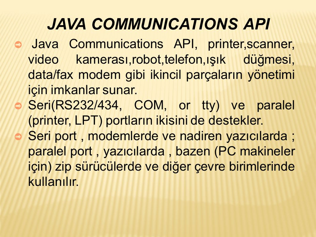 JAVA COMMUNICATIONS API