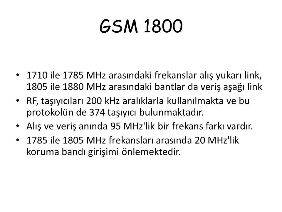 GSM 1800 1710 ile 1785 MHz arasındaki frekanslar alış yukarı link, 1805 ile 1880 MHz arasındaki bantlar da veriş aşağı link.