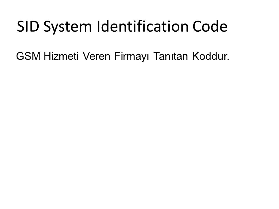 SID System Identification Code
