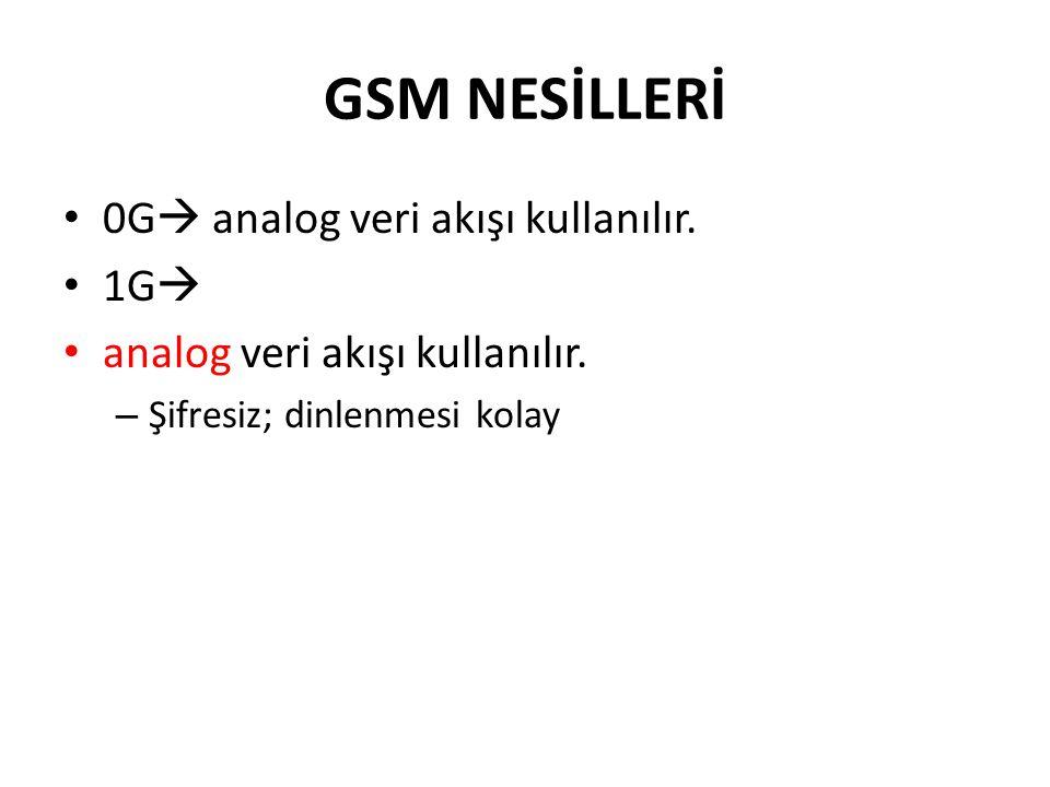 GSM NESİLLERİ 0G analog veri akışı kullanılır. 1G