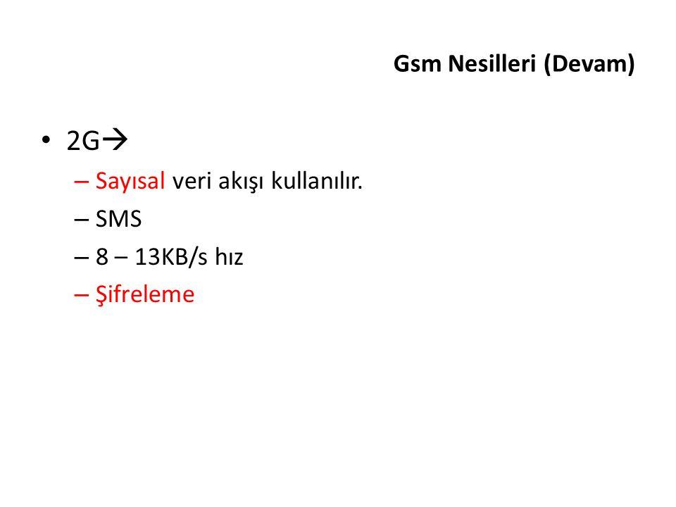2G Gsm Nesilleri (Devam) Sayısal veri akışı kullanılır. SMS
