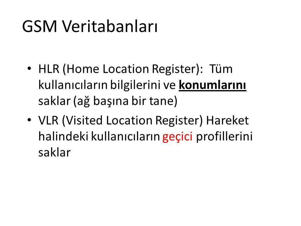 GSM Veritabanları HLR (Home Location Register): Tüm kullanıcıların bilgilerini ve konumlarını saklar (ağ başına bir tane)