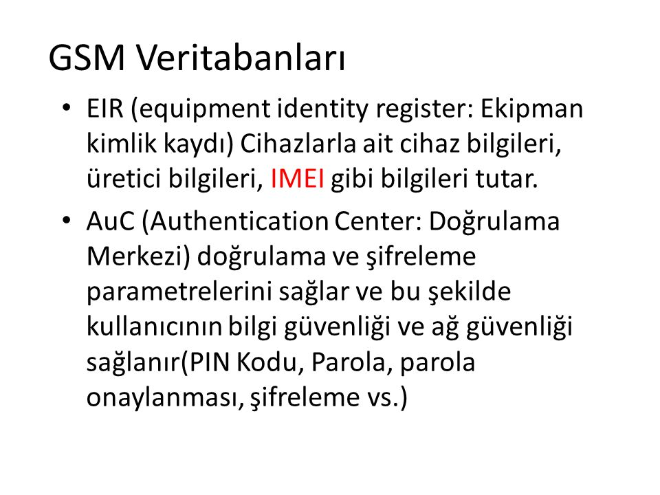 GSM Veritabanları