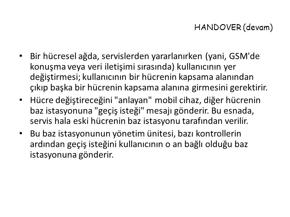 HANDOVER (devam)