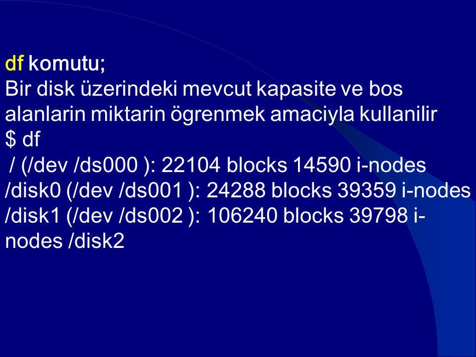 df komutu; Bir disk üzerindeki mevcut kapasite ve bos alanlarin miktarin ögrenmek amaciyla kullanilir.