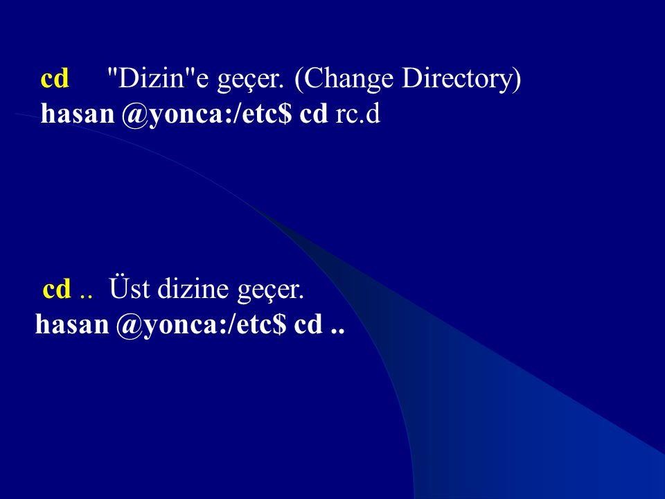 cd Dizin e geçer. (Change Directory)