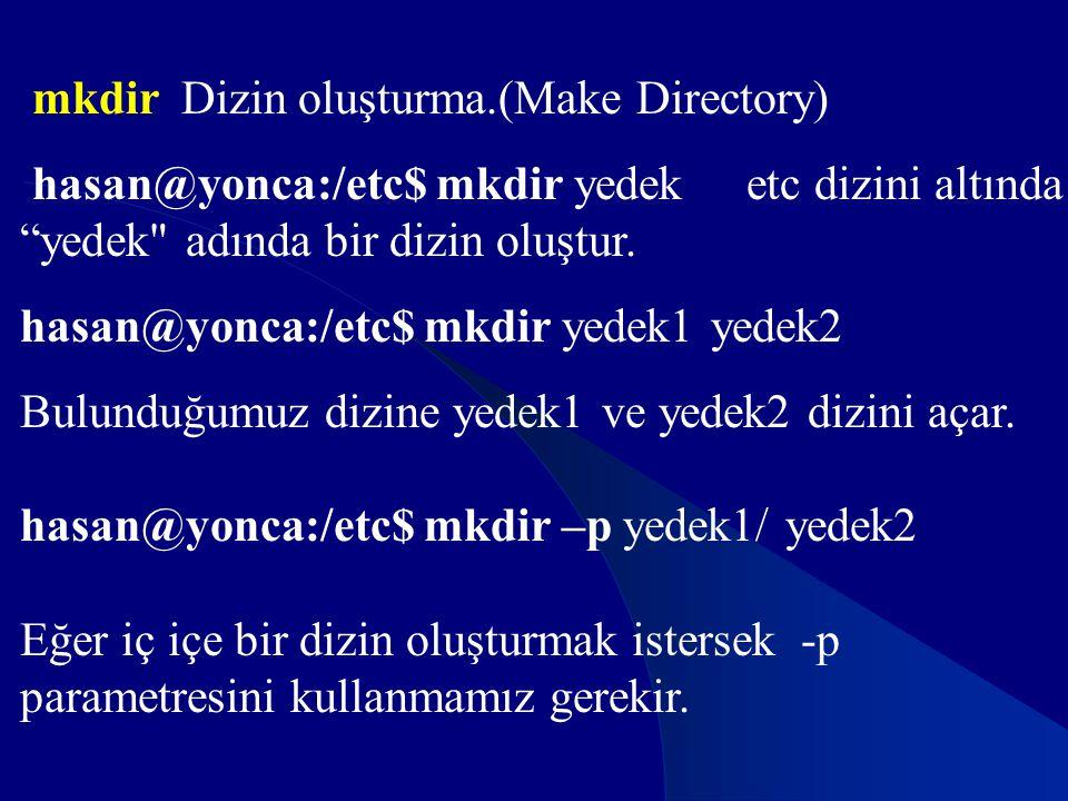 mkdir Dizin oluşturma.(Make Directory)