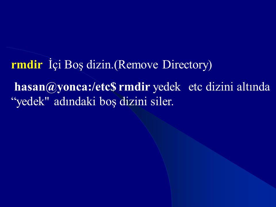 rmdir İçi Boş dizin.(Remove Directory)
