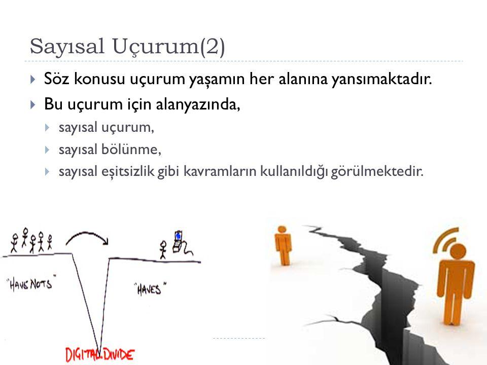 Sayısal Uçurum(2) Söz konusu uçurum yaşamın her alanına yansımaktadır.