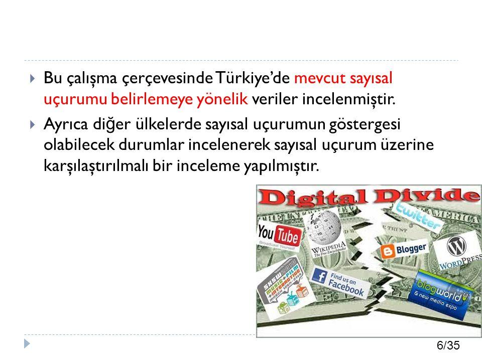 Bu çalışma çerçevesinde Türkiye'de mevcut sayısal uçurumu belirlemeye yönelik veriler incelenmiştir.