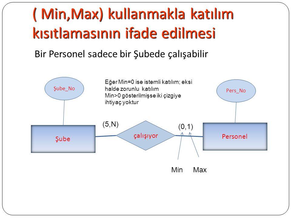( Min,Max) kullanmakla katılım kısıtlamasının ifade edilmesi