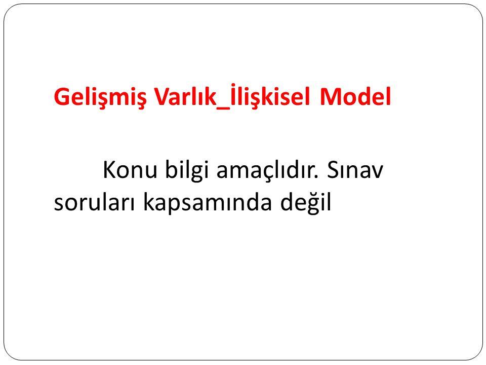 Gelişmiş Varlık_İlişkisel Model