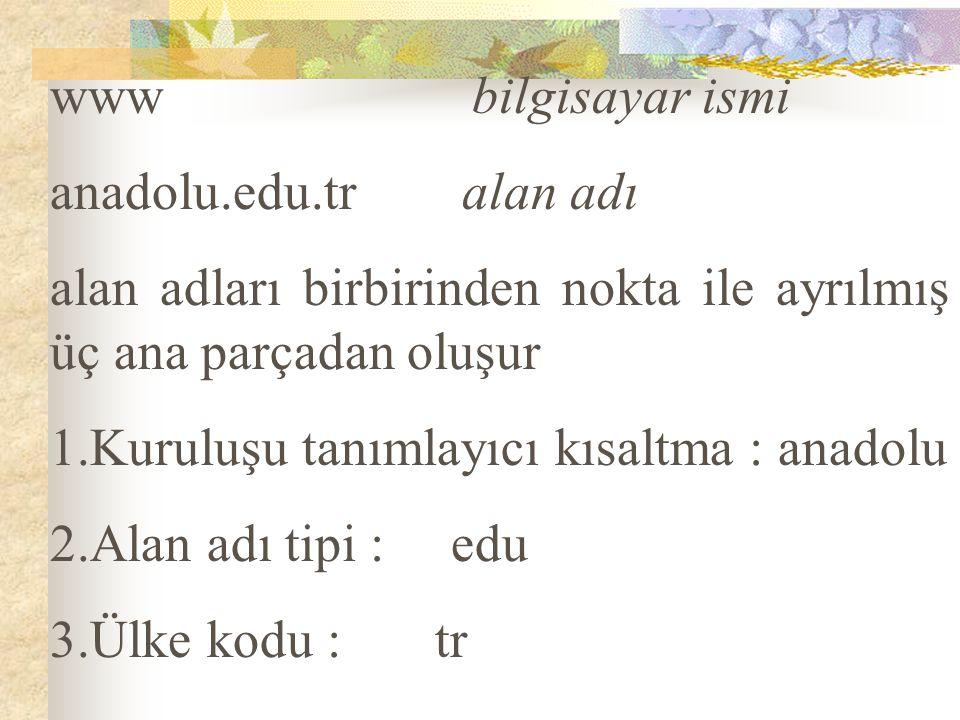 www bilgisayar ismi anadolu.edu.tr alan adı. alan adları birbirinden nokta ile ayrılmış üç ana parçadan oluşur.