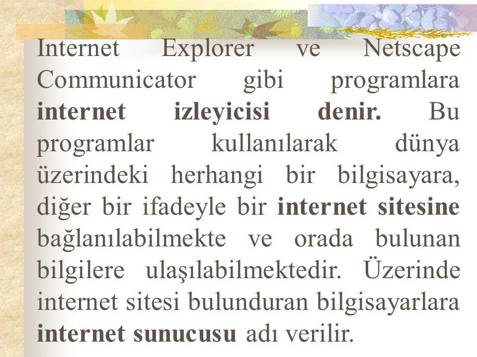 Internet Explorer ve Netscape Communicator gibi programlara internet izleyicisi denir.