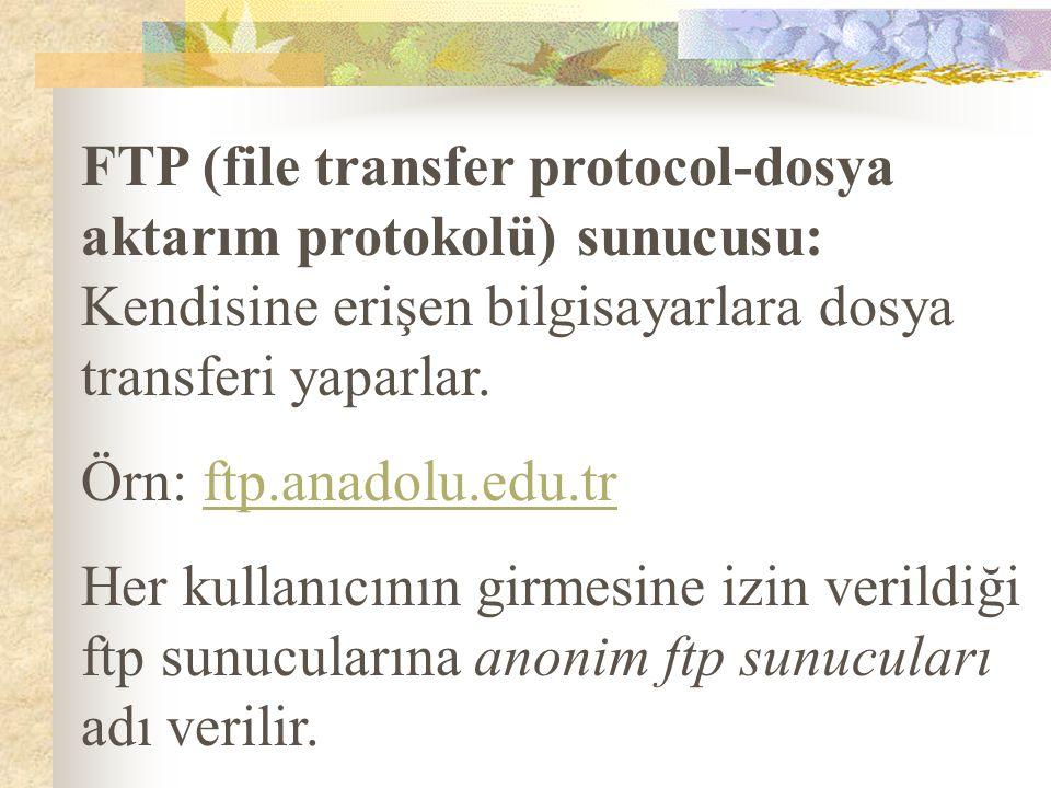 FTP (file transfer protocol-dosya aktarım protokolü) sunucusu: Kendisine erişen bilgisayarlara dosya transferi yaparlar.