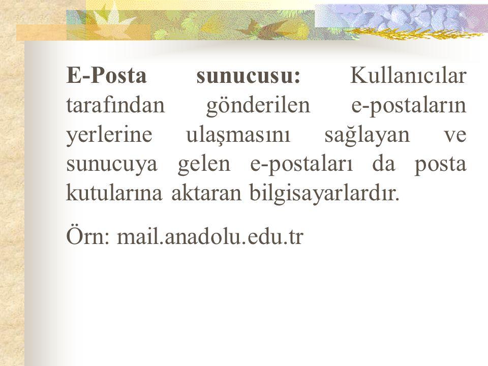 E-Posta sunucusu: Kullanıcılar tarafından gönderilen e-postaların yerlerine ulaşmasını sağlayan ve sunucuya gelen e-postaları da posta kutularına aktaran bilgisayarlardır.