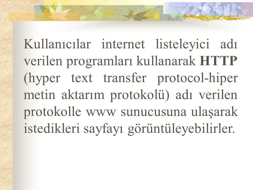 Kullanıcılar internet listeleyici adı verilen programları kullanarak HTTP (hyper text transfer protocol-hiper metin aktarım protokolü) adı verilen protokolle www sunucusuna ulaşarak istedikleri sayfayı görüntüleyebilirler.