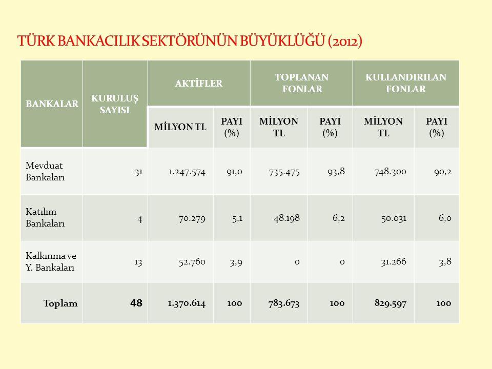 TÜRK BANKACILIK SEKTÖRÜNÜN BÜYÜKLÜĞÜ (2012)