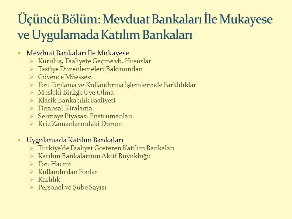 Üçüncü Bölüm: Mevduat Bankaları İle Mukayese ve Uygulamada Katılım Bankaları