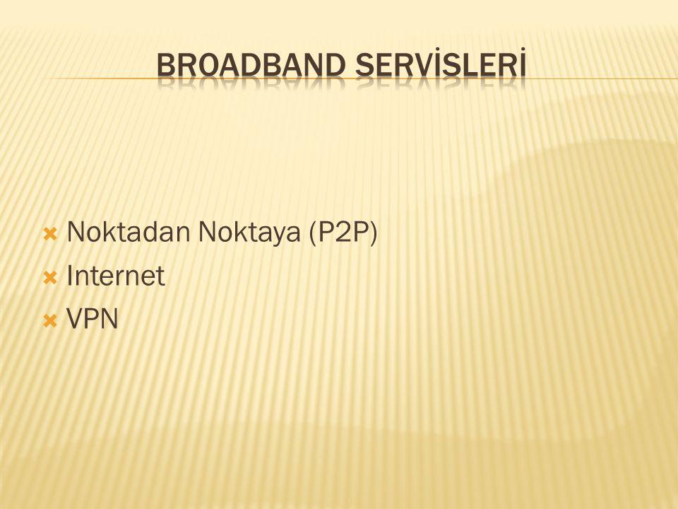 BROADBAND SERVİSLERİ Noktadan Noktaya (P2P) Internet VPN