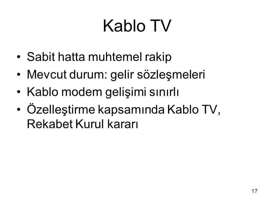 Kablo TV Sabit hatta muhtemel rakip Mevcut durum: gelir sözleşmeleri