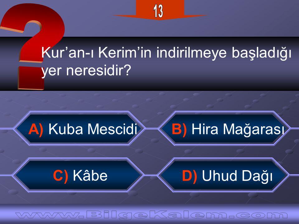 13 Kur'an-ı Kerim'in indirilmeye başladığı. yer neresidir
