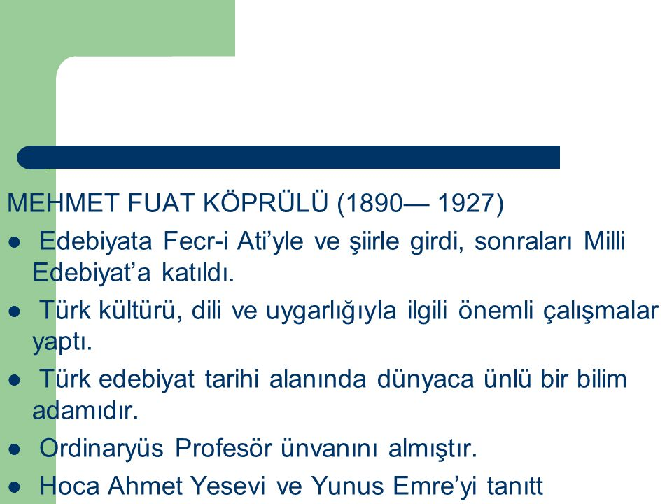 MEHMET FUAT KÖPRÜLÜ (1890— 1927)