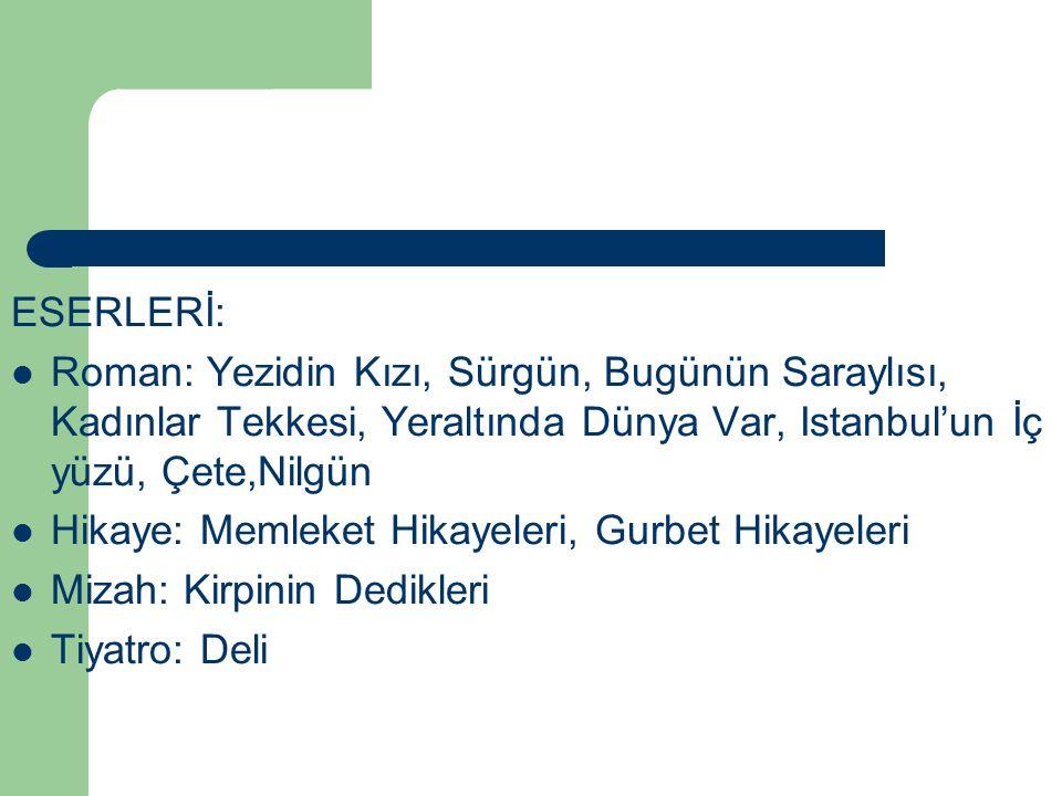 ESERLERİ: Roman: Yezidin Kızı, Sürgün, Bugünün Saraylısı, Kadınlar Tekkesi, Yeraltında Dünya Var, Istanbul'un İç yüzü, Çete,Nilgün.