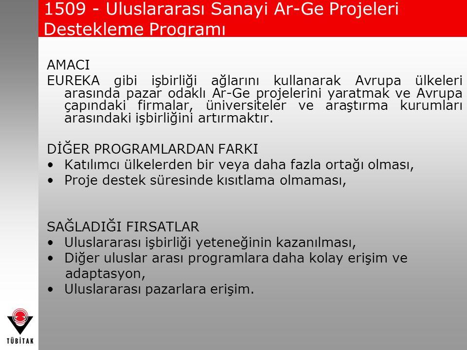 1509 - Uluslararası Sanayi Ar-Ge Projeleri Destekleme Programı