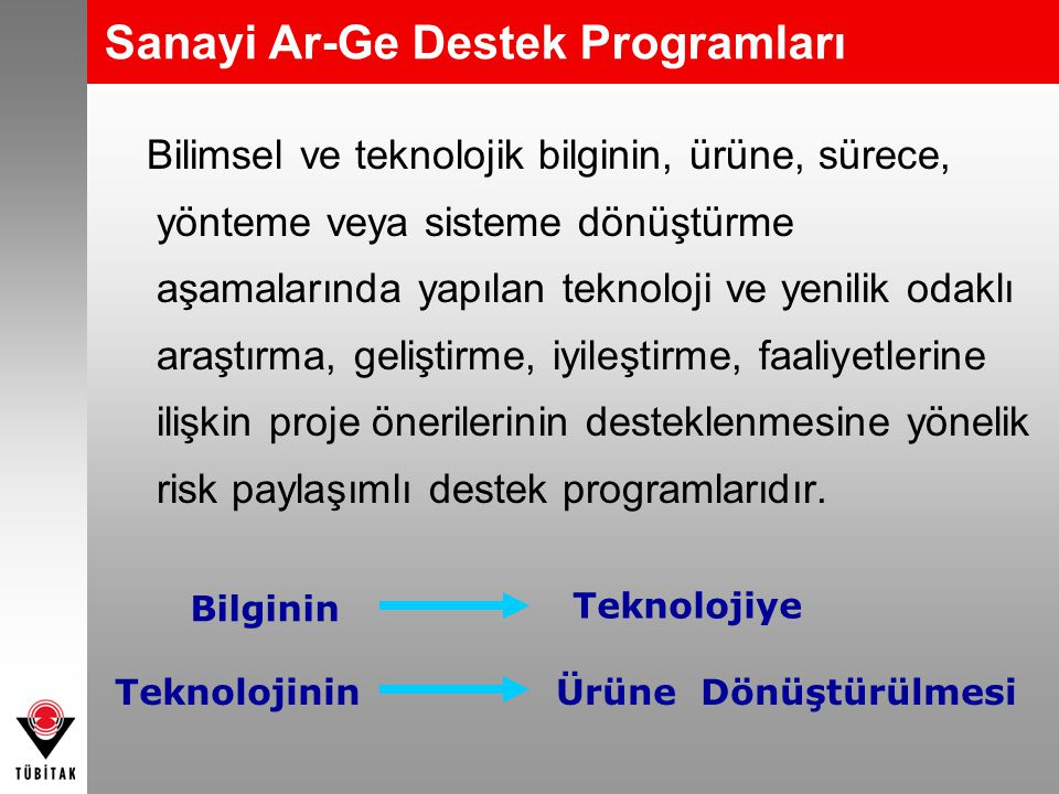 Sanayi Ar-Ge Destek Programları
