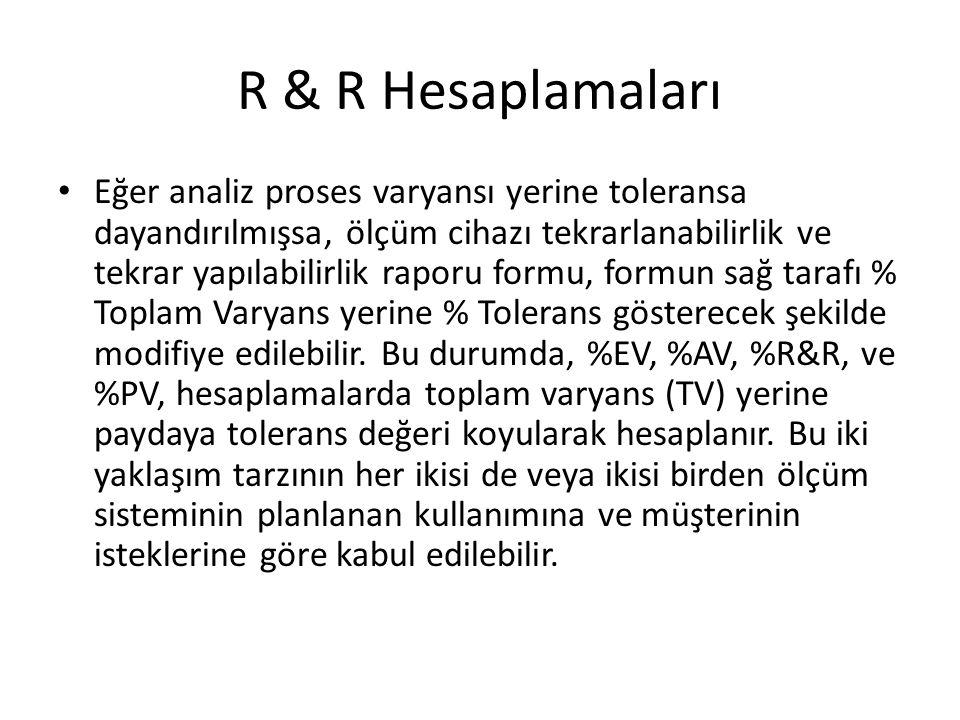 R & R Hesaplamaları