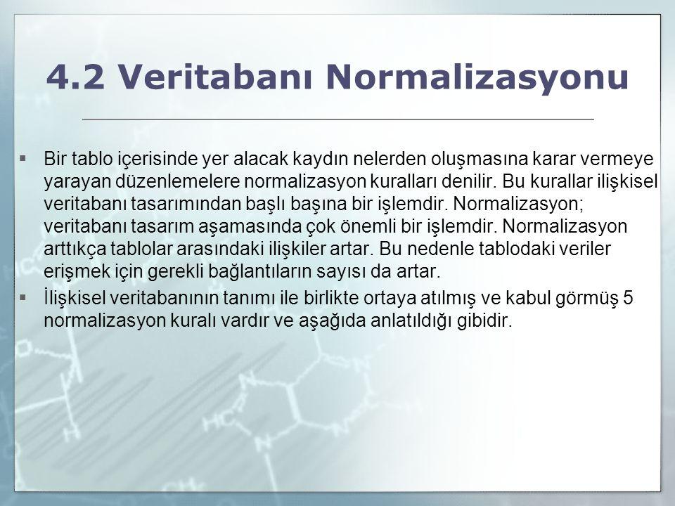4.2 Veritabanı Normalizasyonu