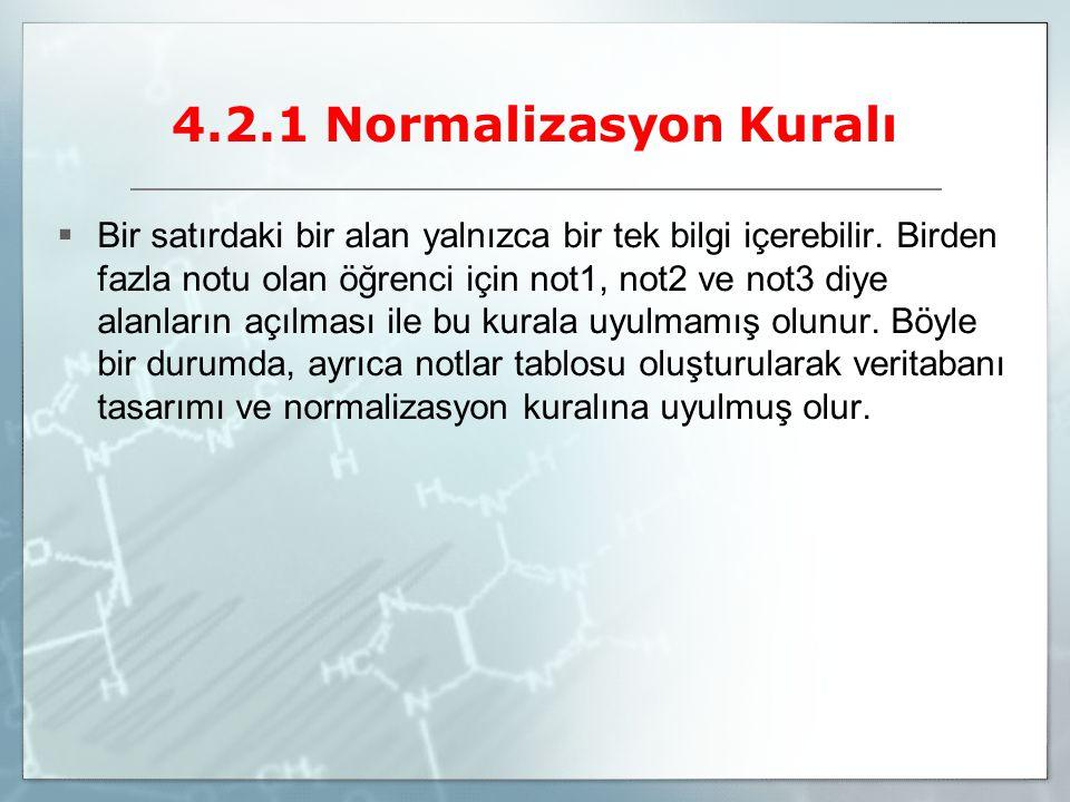 4.2.1 Normalizasyon Kuralı