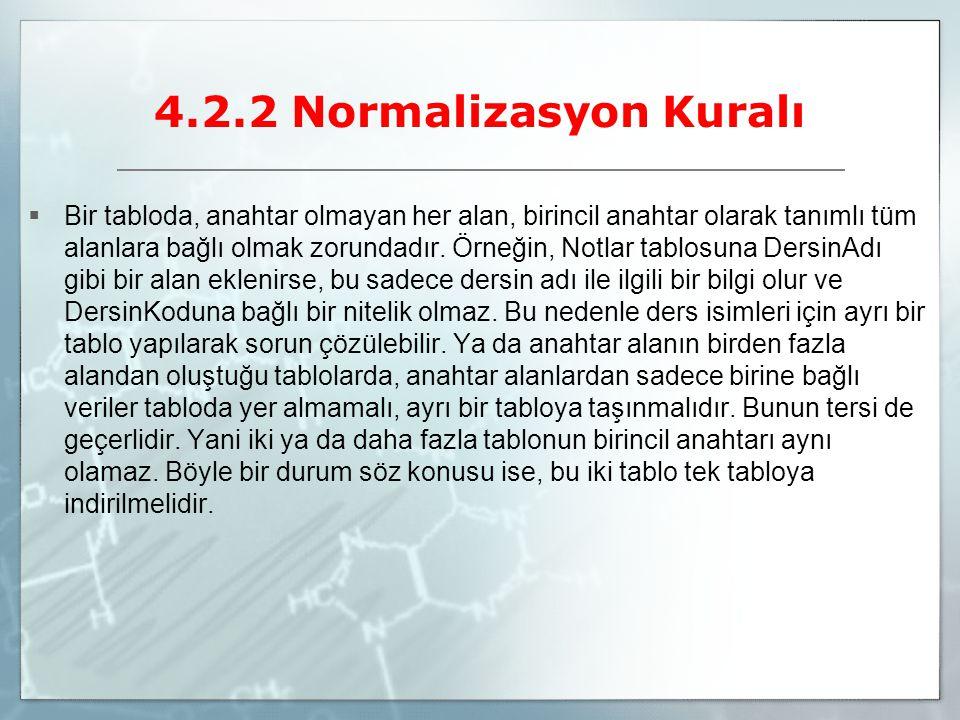 4.2.2 Normalizasyon Kuralı