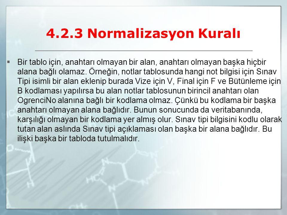 4.2.3 Normalizasyon Kuralı