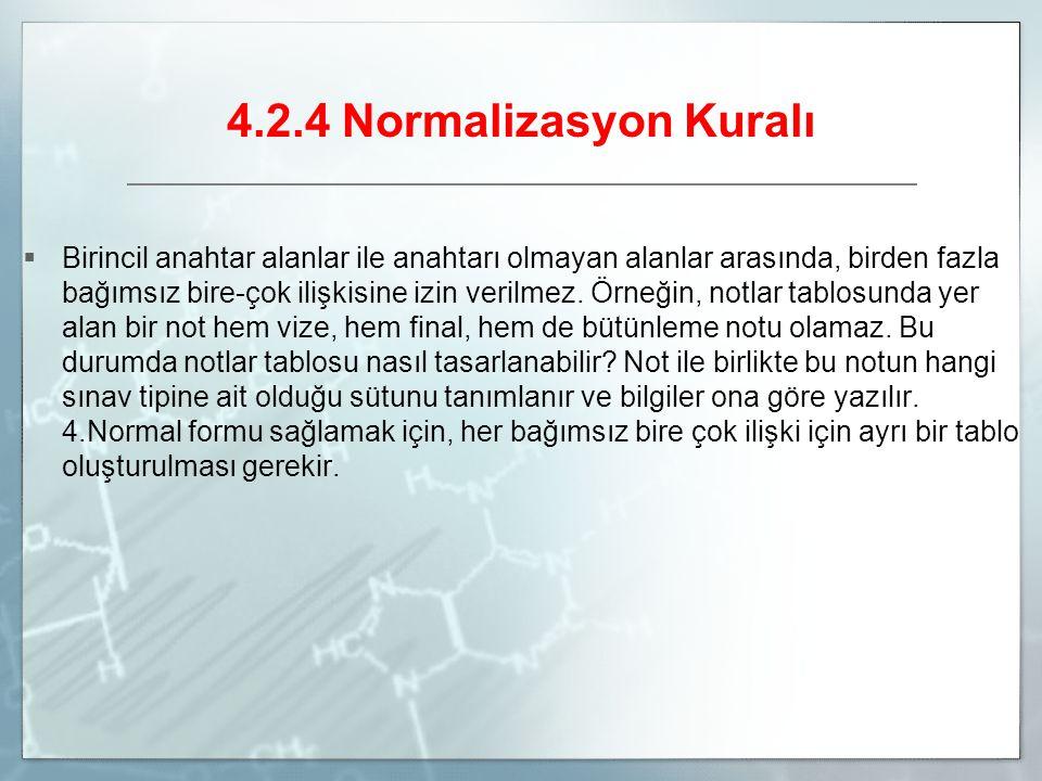 4.2.4 Normalizasyon Kuralı