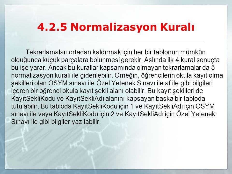 4.2.5 Normalizasyon Kuralı