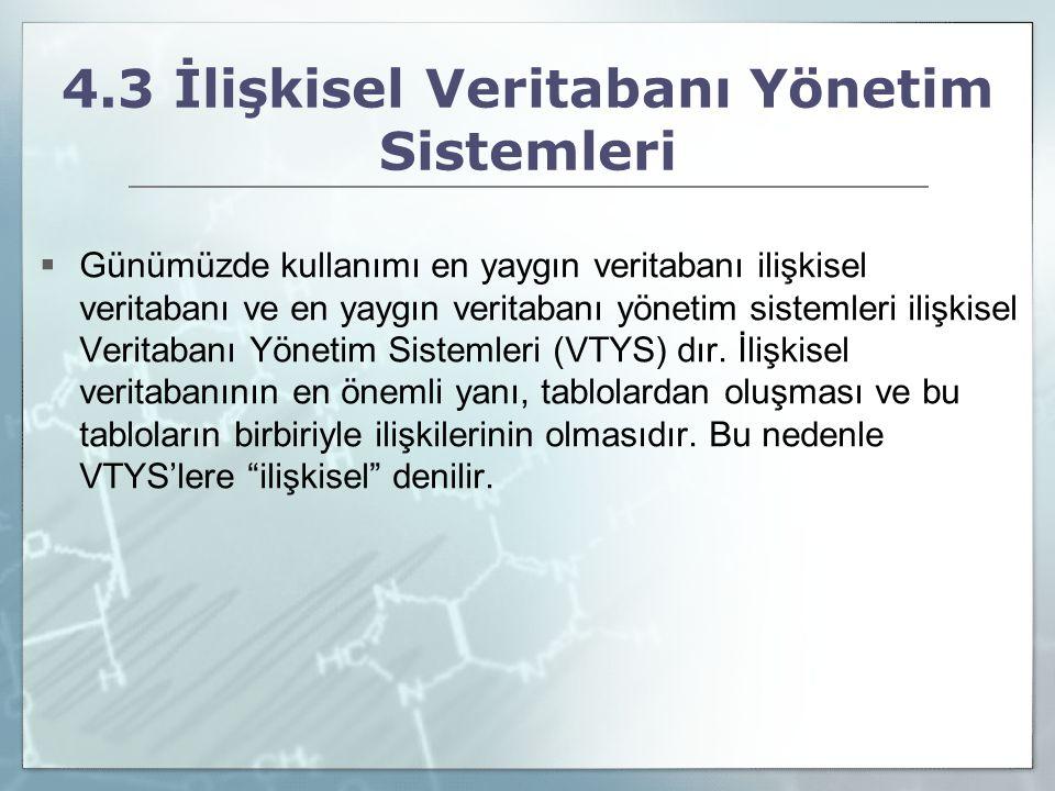 4.3 İlişkisel Veritabanı Yönetim Sistemleri