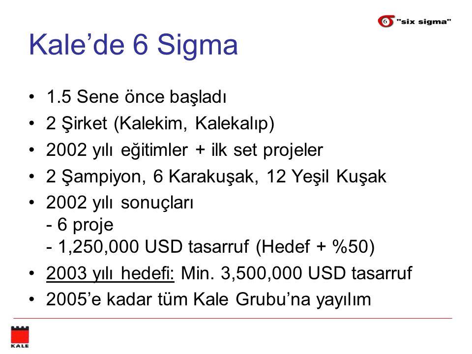 Kale'de 6 Sigma 1.5 Sene önce başladı 2 Şirket (Kalekim, Kalekalıp)