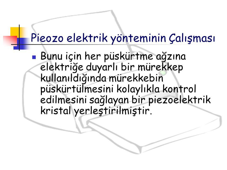 Pieozo elektrik yönteminin Çalışması