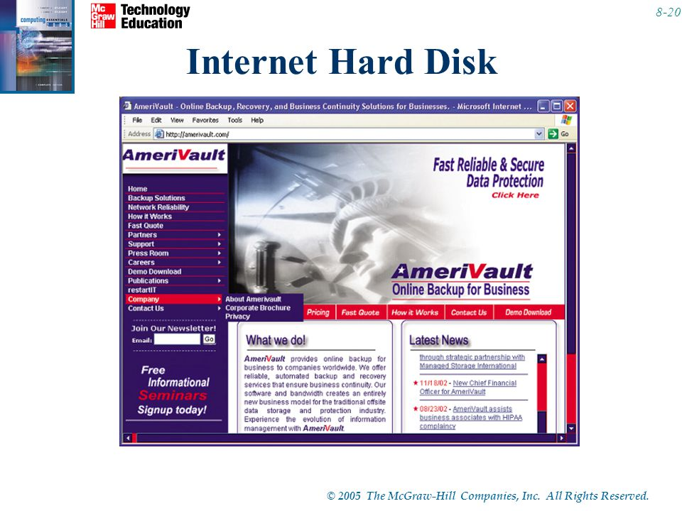 Internet Hard Disk These are Web sites that provide storage space