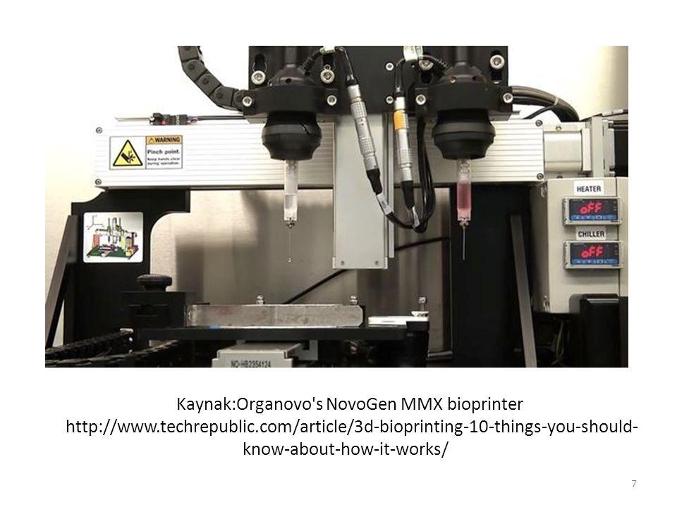 Kaynak:Organovo s NovoGen MMX bioprinter http://www. techrepublic