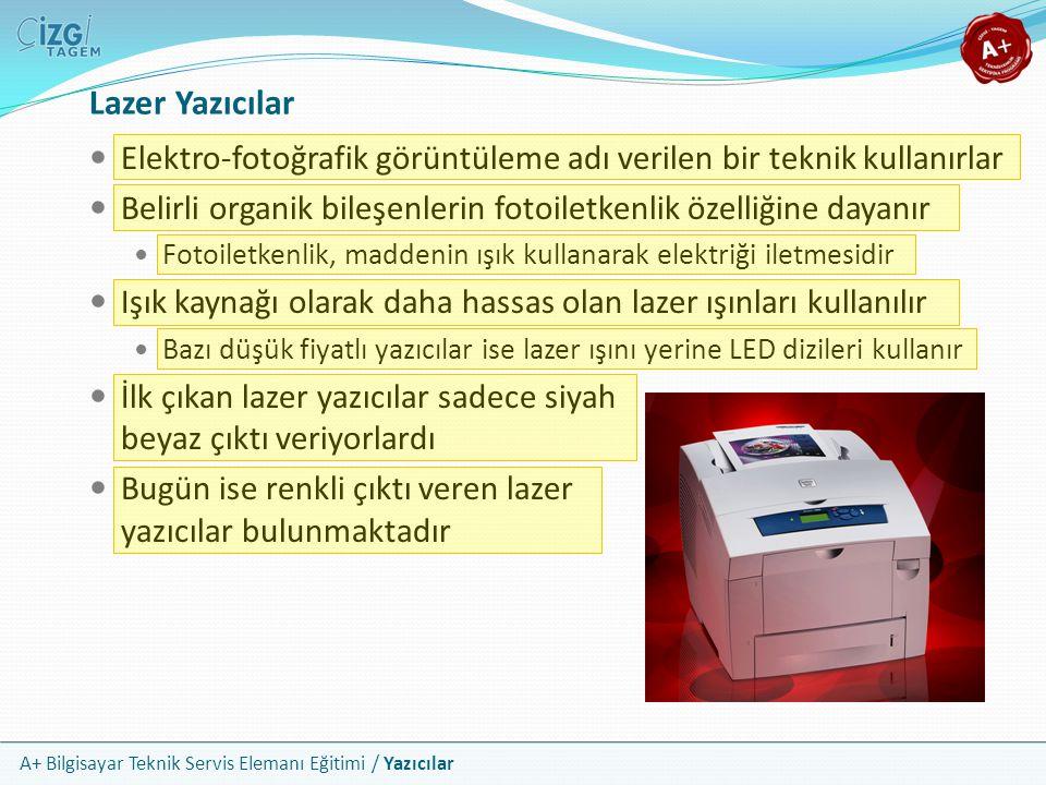Lazer Yazıcılar Elektro-fotoğrafik görüntüleme adı verilen bir teknik kullanırlar. Belirli organik bileşenlerin fotoiletkenlik özelliğine dayanır.