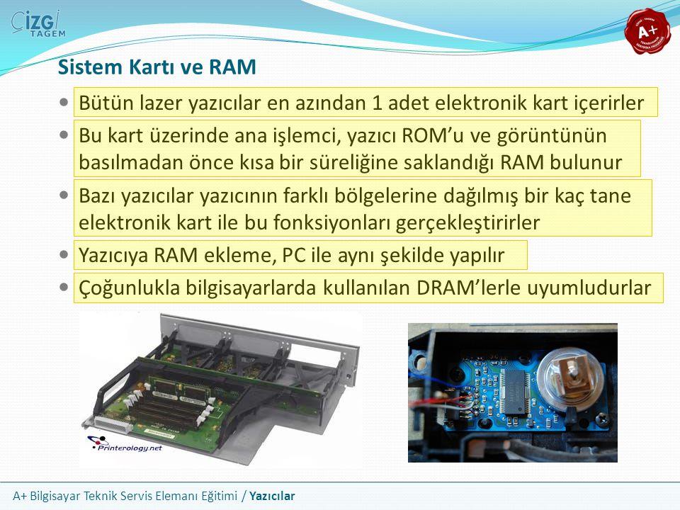 Sistem Kartı ve RAM Bütün lazer yazıcılar en azından 1 adet elektronik kart içerirler.