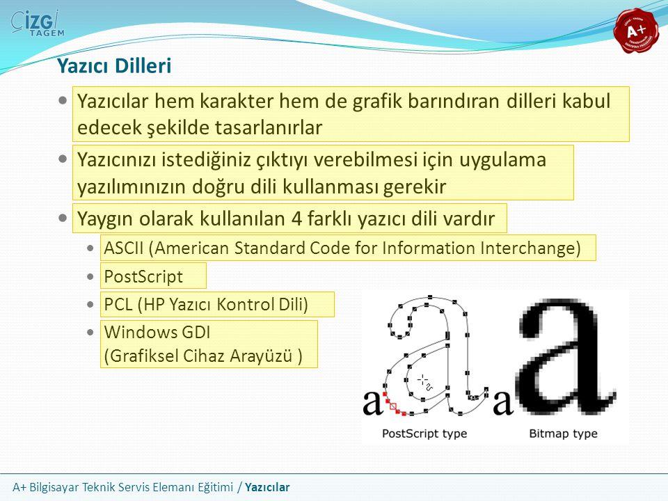 Yazıcı Dilleri Yazıcılar hem karakter hem de grafik barındıran dilleri kabul edecek şekilde tasarlanırlar.