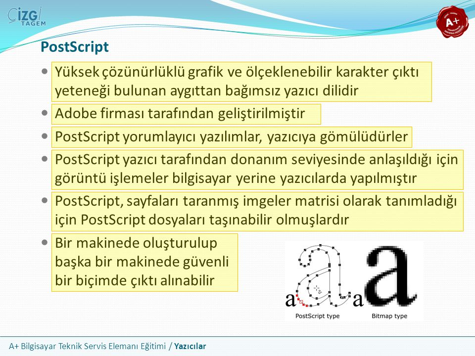 PostScript Yüksek çözünürlüklü grafik ve ölçeklenebilir karakter çıktı yeteneği bulunan aygıttan bağımsız yazıcı dilidir.