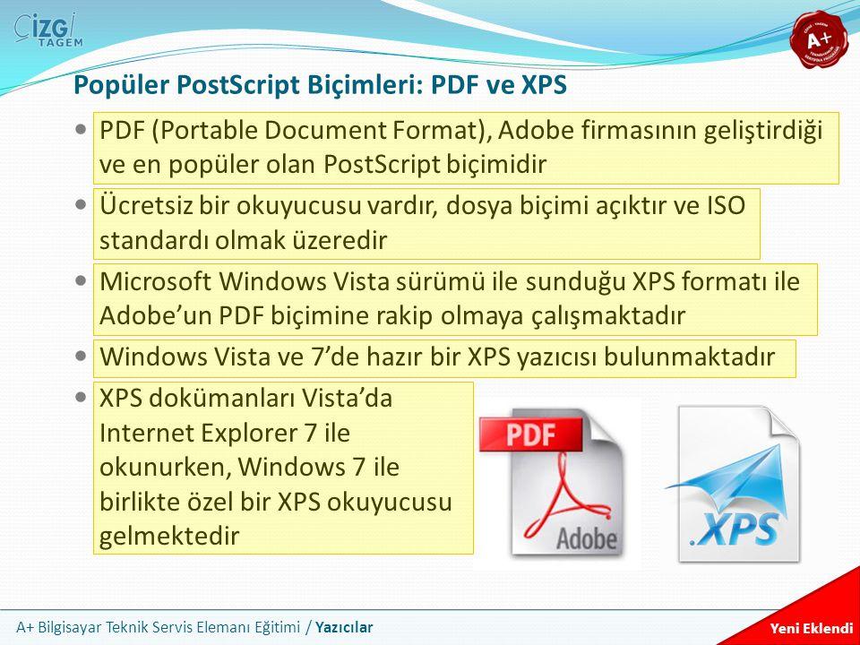 Popüler PostScript Biçimleri: PDF ve XPS